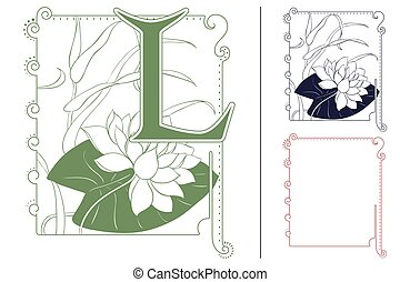 Template for Initial letter. Waterlily in frame.
