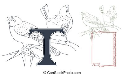 Template for Initial letter. Violin and chrysanthemum.