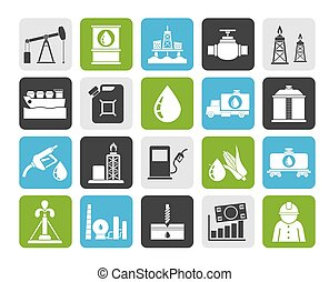 Oil industry icons - Silhouette Oil industry, Gas...