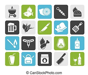 Silhouette Grill and Barbecue Icons - vector icon set