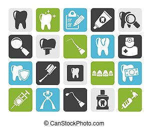 dental medicine icons - Silhouette dental medicine and tools...