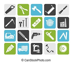 logging and woodworking icons - Silhouette Carpentry,...