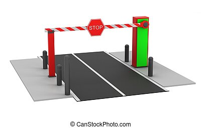 Automatic barrier on white background 3D rendering