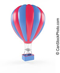 Hot air balloon isolated on white background. 3D rendering