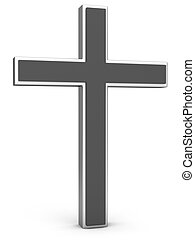 Christianity Symbol. Silver cross on a white background. 3D...