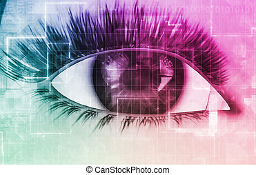 Cybernetic Eye with Futuristic Abstract Background as Art
