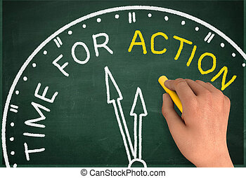 time for action clock chalkboard write concept 3d...