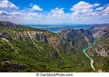 The alpine canyon Verdon spring. Canyon of Verdon, Provence....