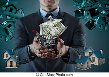 Man in house purchase mortgage concept