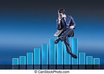 Depressed businessman in despair in crisis concept