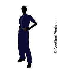African American Female Police Officer Art Illustration Silhouette