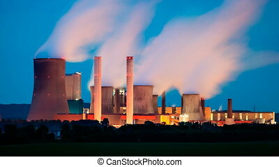 Power Station At Night - Long exposure time lapse sequence...