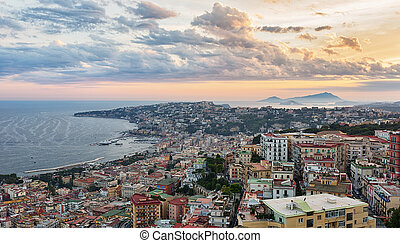 Naples at sunset.
