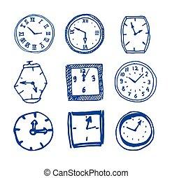 Armbanduhr gezeichnet  Vektor von skizze, satz, uhren, hand, uhren, gezeichnet - Hand ...
