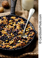 Baked Oatmeal in a pig-iron frying pan. style rustic....