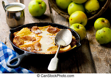 CARAMEL APPLE STRATA in a pig-iron frying pan. style rustic....