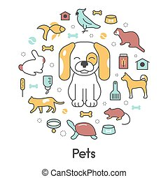 Pets Line Art Thin Vector Icons Set with Dog Cat Bird and Fish