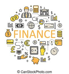 Finance and Money Line Art Thin Vector Icons Set with Bank...
