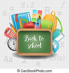 Back to School Education Concept. Chalkboard with Book Notepad and Supplies