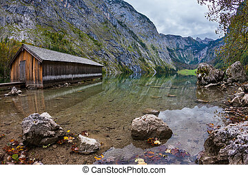 Lake Obersee in the Bavarian Alps - Boat garages on the...