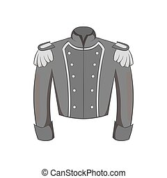 Military jacket of guards icon, monochrome style - Military...