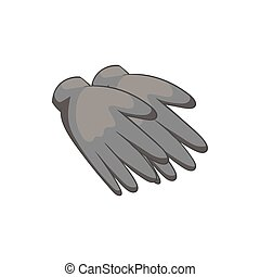 Rubber gloves icon, black monochrome style - Rubber gloves...