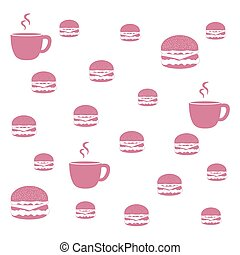 Nice picture with colorful cups and hamburgers