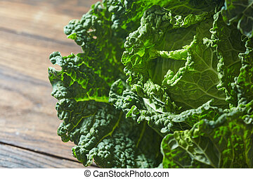 Savoy cabbage super food close up. - Savoy cabbage super...