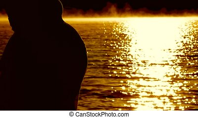 Pregnant Silhouette Admiring The Dawn Sun. - Belly of a...