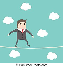 Businesman walking rope - Balancing businessman walking on...