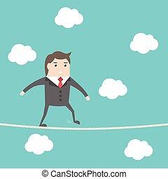 Businesman walking rope - Balancing businessman walking on...