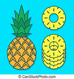 Vector pineapple and slices over blue background - Vector...
