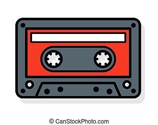 Vector of tape cassette with blank label - Vector...