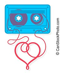 Vector of mix tape cassette with heart shape