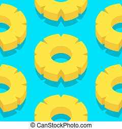 Seamless vector pattern of juicy pineapple slices over blue...