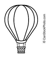 Vector illustration of silhouette hot air balloon
