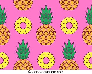 Tropical vector pattern of pineapples and slices - Tropical...