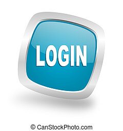 login square blue glossy chrome silver metallic web icon -...