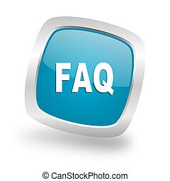 faq square blue glossy chrome silver metallic web icon - faq...