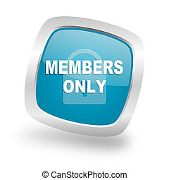 members only square blue glossy chrome silver metallic web...