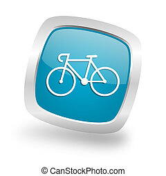 bicycle square blue glossy chrome silver metallic web icon -...