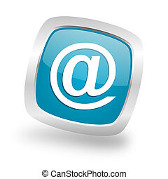email square blue glossy chrome silver metallic web icon -...