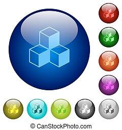 Color cubes glass buttons - Set of color cubes glass web...