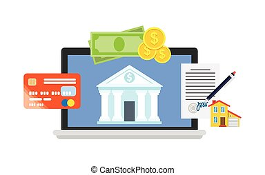 Online banking theme, flat style, illustration processing of...