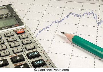 calculator and pencil coins on graffica the Dow Jones -...