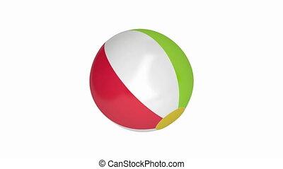Beach ball spin on white background