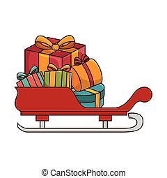 santa claus sleight with gifts boxes