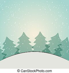 winter season landscape with pine trees and snow background...