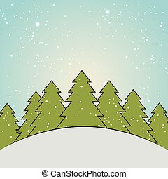 winter season landscape with pine trees and snow background....