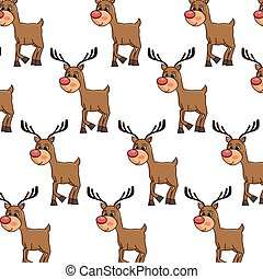 reinder smiling with red nose background - brown reindeer...